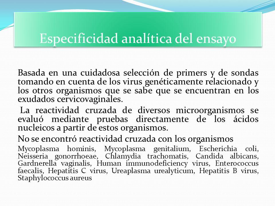 Especificidad analítica del ensayo