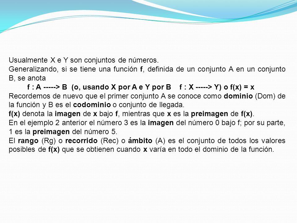 Usualmente X e Y son conjuntos de números.
