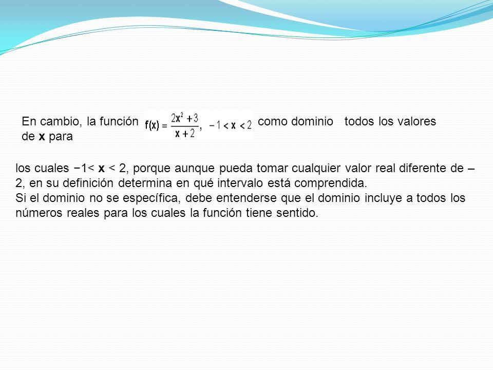 En cambio, la función tiene c como dominio todos los valores de x para