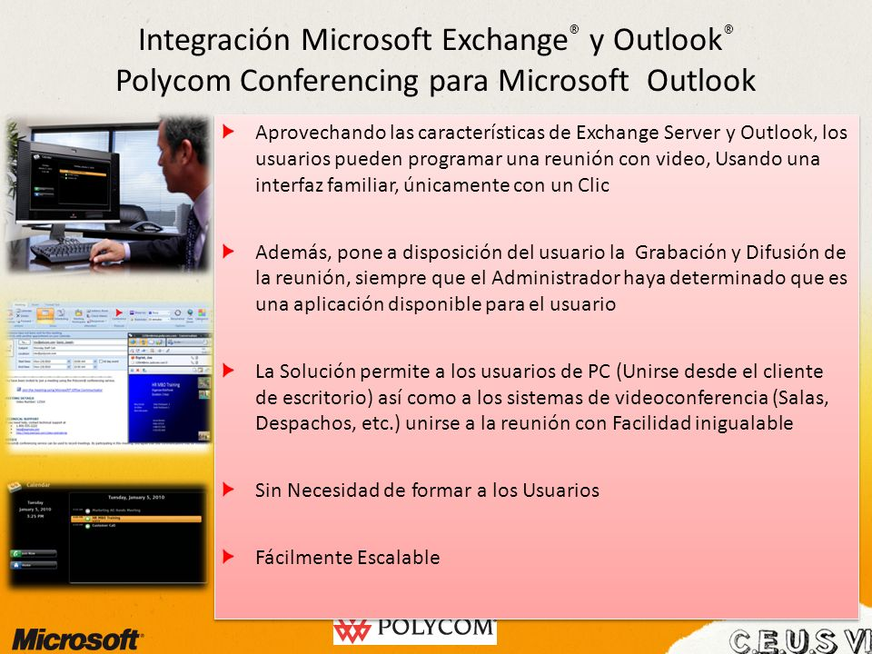 Integración Microsoft Exchange® y Outlook® Polycom Conferencing para Microsoft Outlook