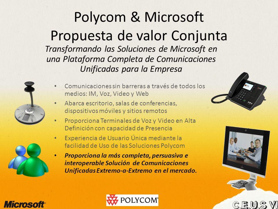 Polycom & Microsoft Propuesta de valor Conjunta