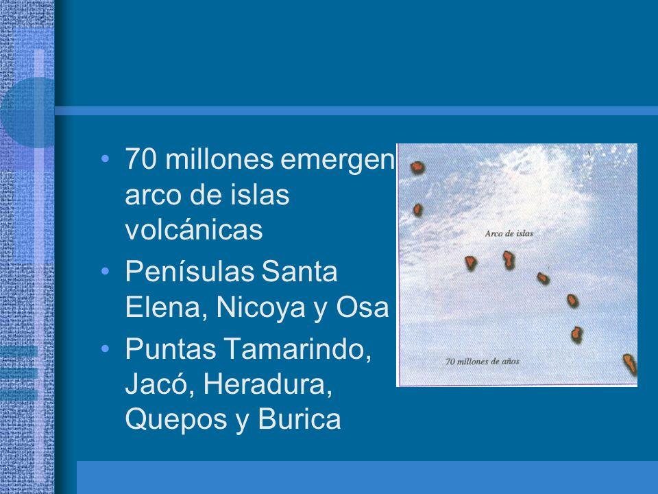 70 millones emergen arco de islas volcánicas