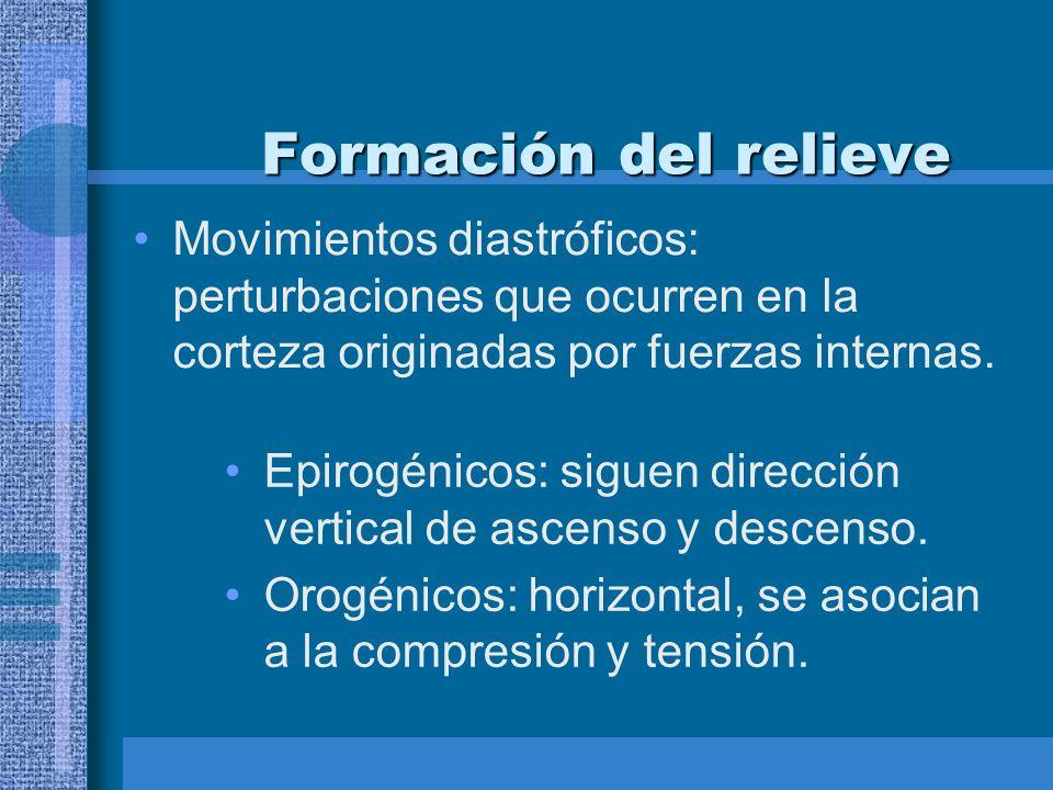 Formación del relieve Movimientos diastróficos: perturbaciones que ocurren en la corteza originadas por fuerzas internas.