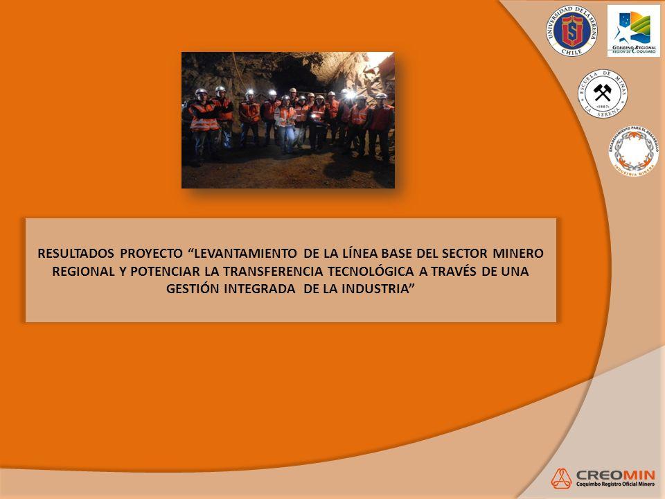 RESULTADOS PROYECTO LEVANTAMIENTO DE LA LÍNEA BASE DEL SECTOR MINERO REGIONAL Y POTENCIAR LA TRANSFERENCIA TECNOLÓGICA A TRAVÉS DE UNA GESTIÓN INTEGRADA DE LA INDUSTRIA