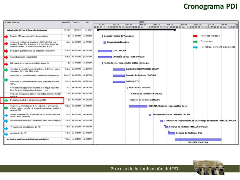 Cronograma PDI Actividad realizada En proceso
