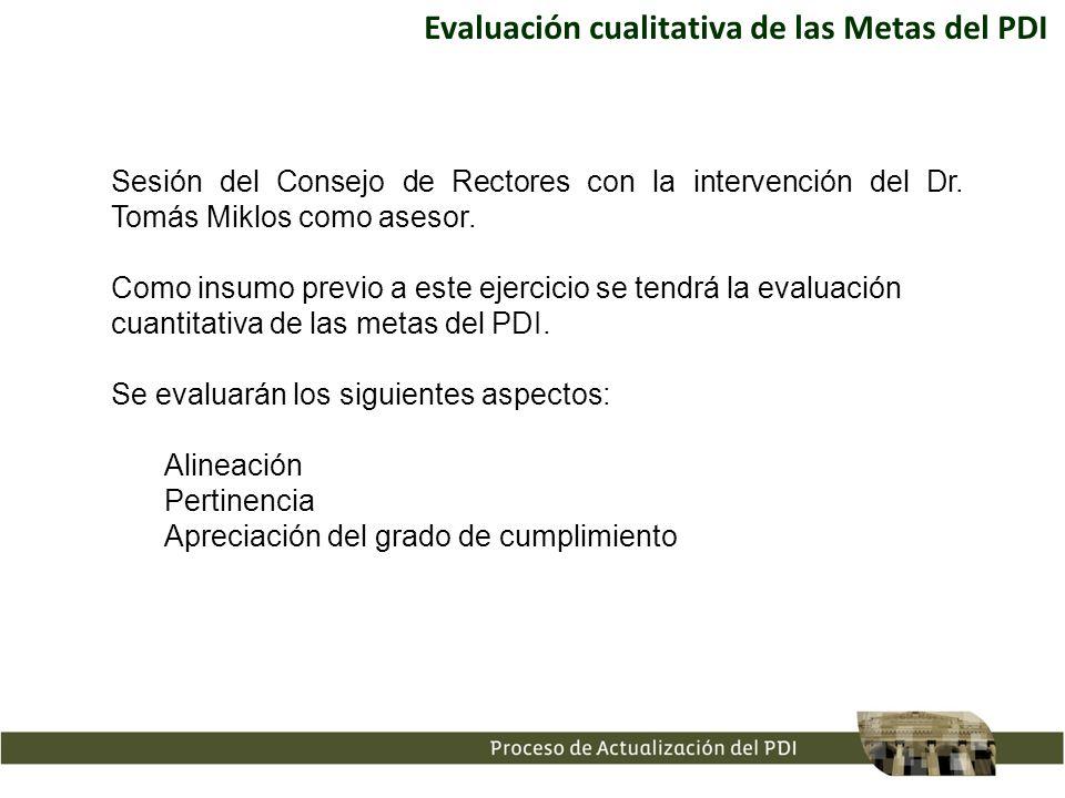 Evaluación cualitativa de las Metas del PDI