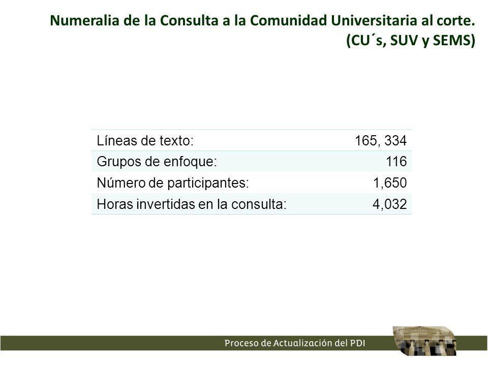 Numeralia de la Consulta a la Comunidad Universitaria al corte.