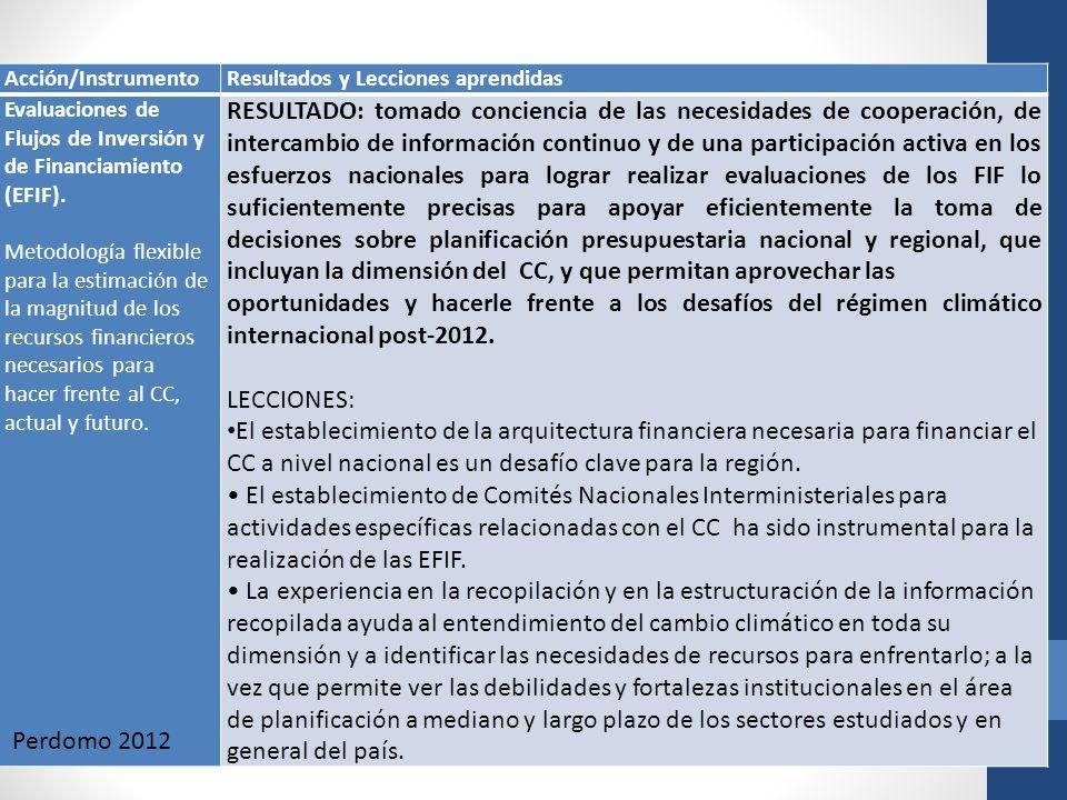 Acción/Instrumento Resultados y Lecciones aprendidas. Evaluaciones de Flujos de Inversión y de Financiamiento (EFIF).
