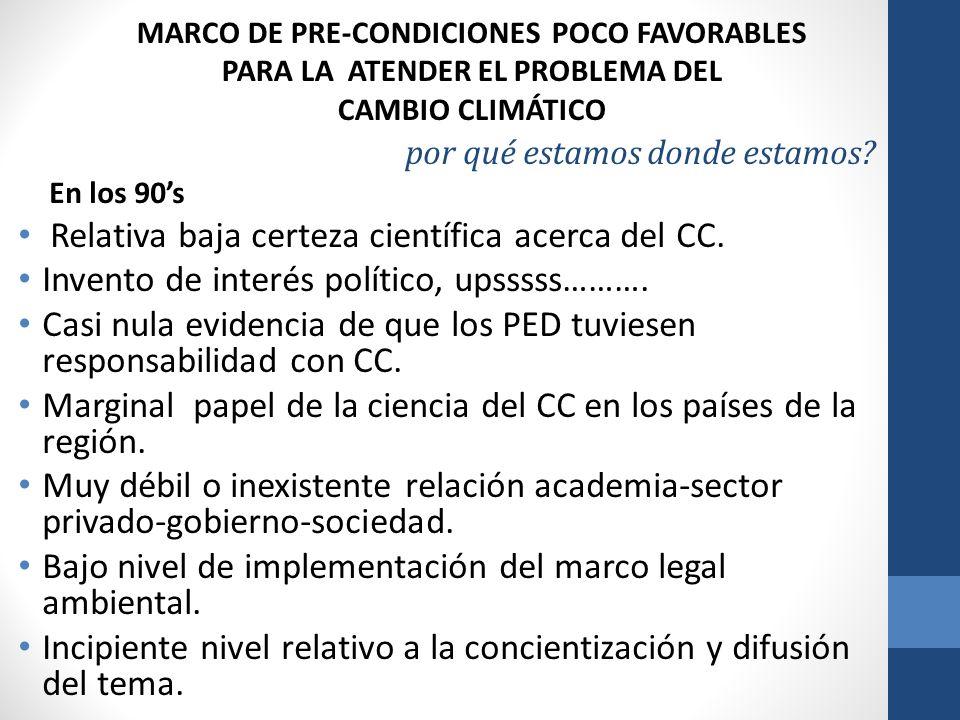 Relativa baja certeza científica acerca del CC.
