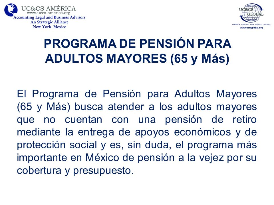 PROGRAMA DE PENSIÓN PARA ADULTOS MAYORES (65 y Más)