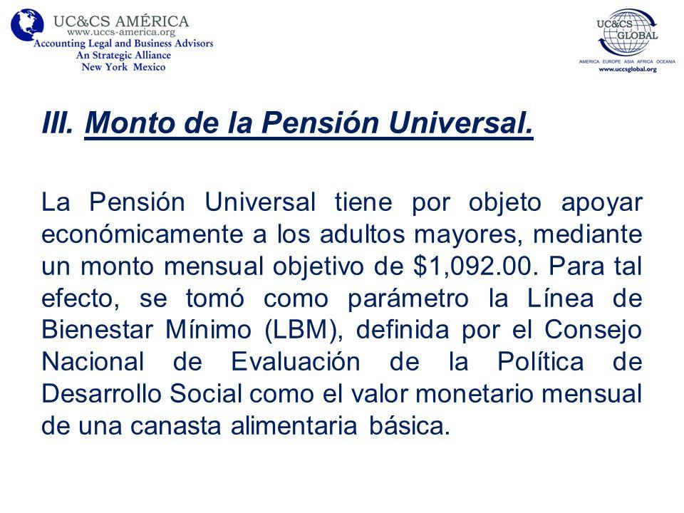 Monto de la Pensión Universal.