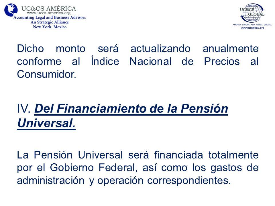 IV. Del Financiamiento de la Pensión Universal.
