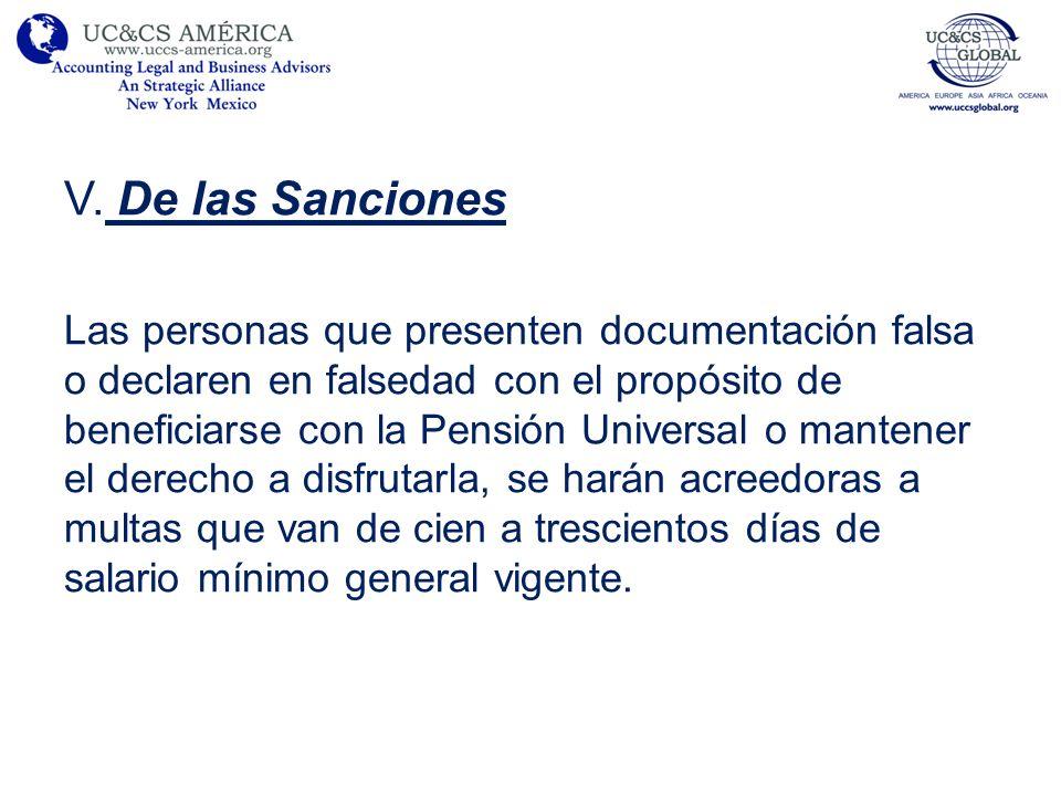 V. De las Sanciones