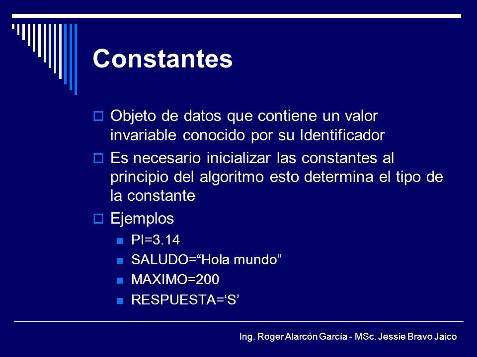 Constantes Objeto de datos que contiene un valor invariable conocido por su Identificador.