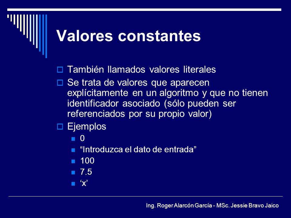 Valores constantes También llamados valores literales