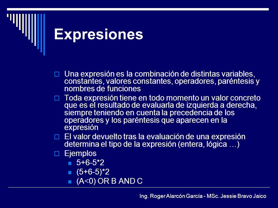 Expresiones Una expresión es la combinación de distintas variables, constantes, valores constantes, operadores, paréntesis y nombres de funciones.