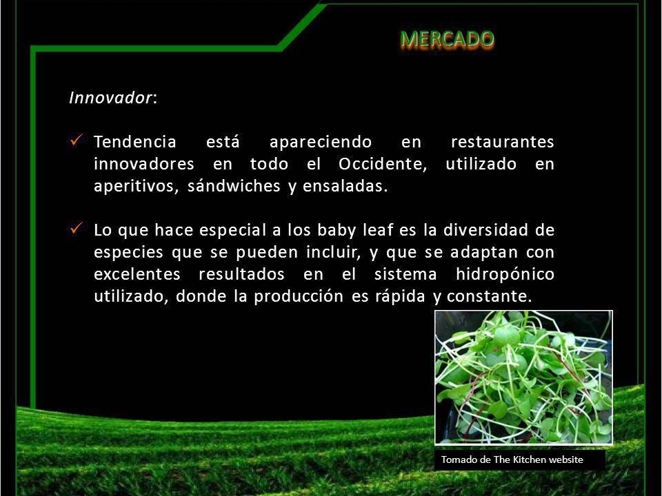 MERCADO Innovador: Tendencia está apareciendo en restaurantes innovadores en todo el Occidente, utilizado en aperitivos, sándwiches y ensaladas.