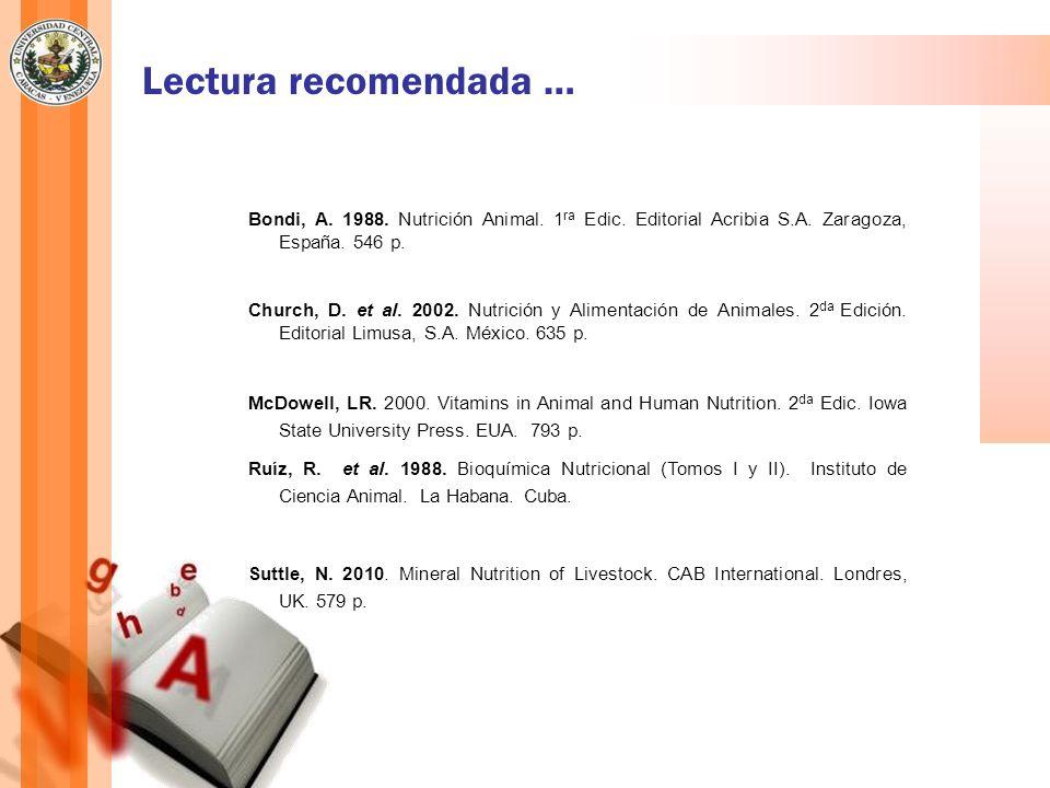 Lectura recomendada …Bondi, A. 1988. Nutrición Animal. 1ra Edic. Editorial Acribia S.A. Zaragoza, España. 546 p.