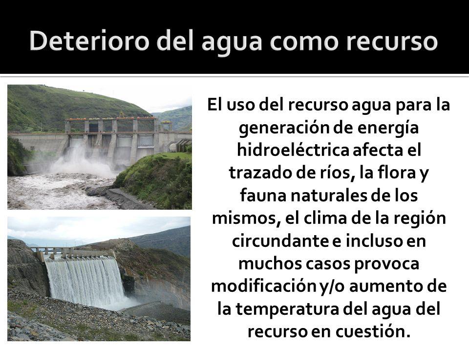Deterioro del agua como recurso