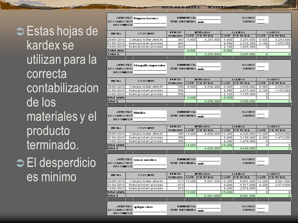 Estas hojas de kardex se utilizan para la correcta contabilizacion de los materiales y el producto terminado.