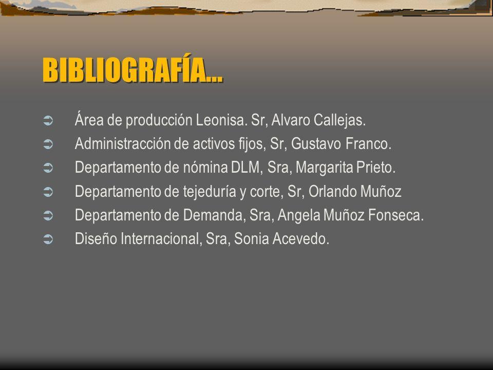 BIBLIOGRAFÍA... Área de producción Leonisa. Sr, Alvaro Callejas.