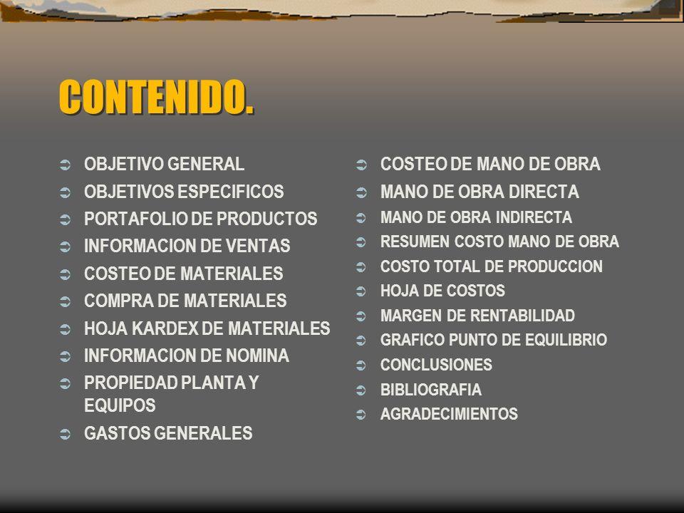 CONTENIDO. OBJETIVO GENERAL OBJETIVOS ESPECIFICOS