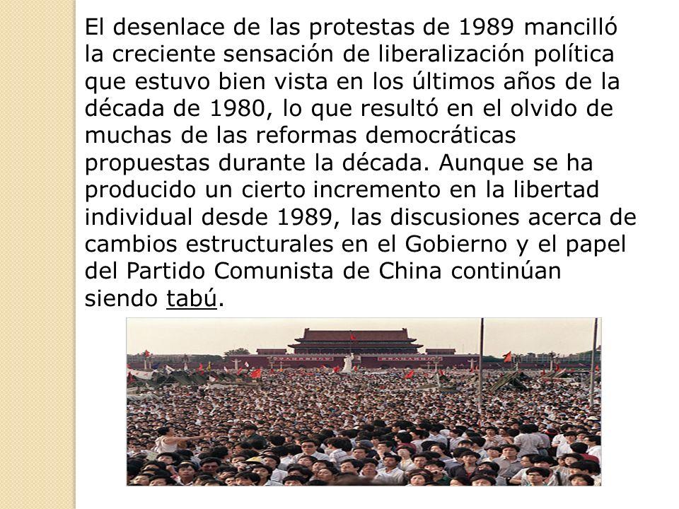 El desenlace de las protestas de 1989 mancilló la creciente sensación de liberalización política que estuvo bien vista en los últimos años de la década de 1980, lo que resultó en el olvido de muchas de las reformas democráticas propuestas durante la década.