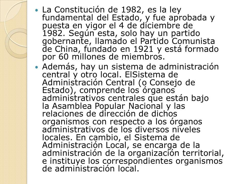 La Constitución de 1982, es la ley fundamental del Estado, y fue aprobada y puesta en vigor el 4 de diciembre de 1982. Según esta, solo hay un partido gobernante, llamado el Partido Comunista de China, fundado en 1921 y está formado por 60 millones de miembros.