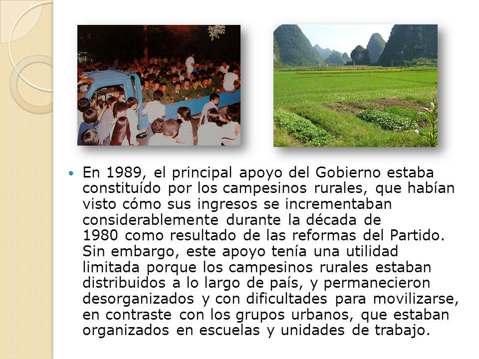 En 1989, el principal apoyo del Gobierno estaba constituído por los campesinos rurales, que habían visto cómo sus ingresos se incrementaban considerablemente durante la década de 1980 como resultado de las reformas del Partido.