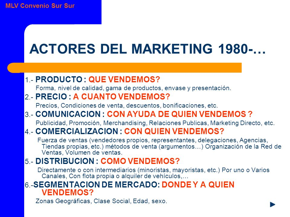 ACTORES DEL MARKETING 1980-…