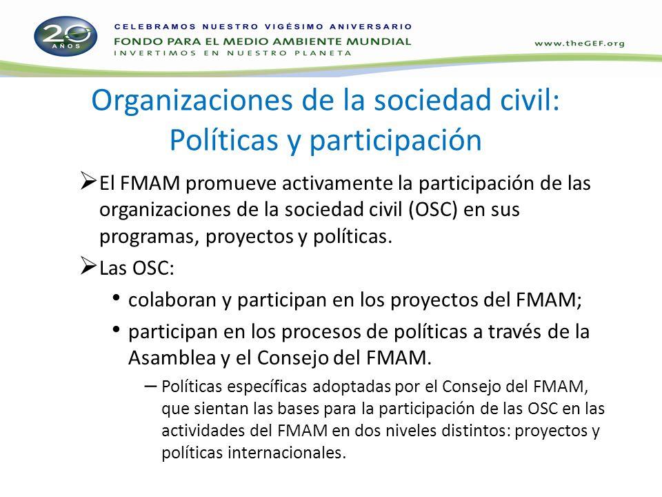 Organizaciones de la sociedad civil: Políticas y participación