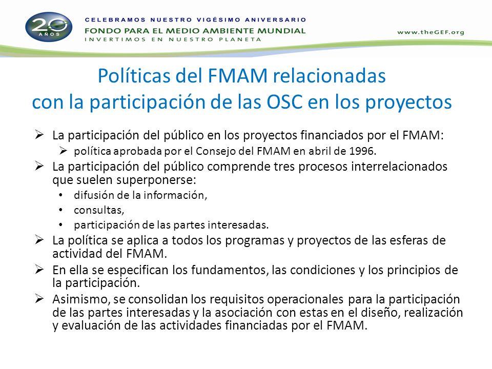 Políticas del FMAM relacionadas con la participación de las OSC en los proyectos