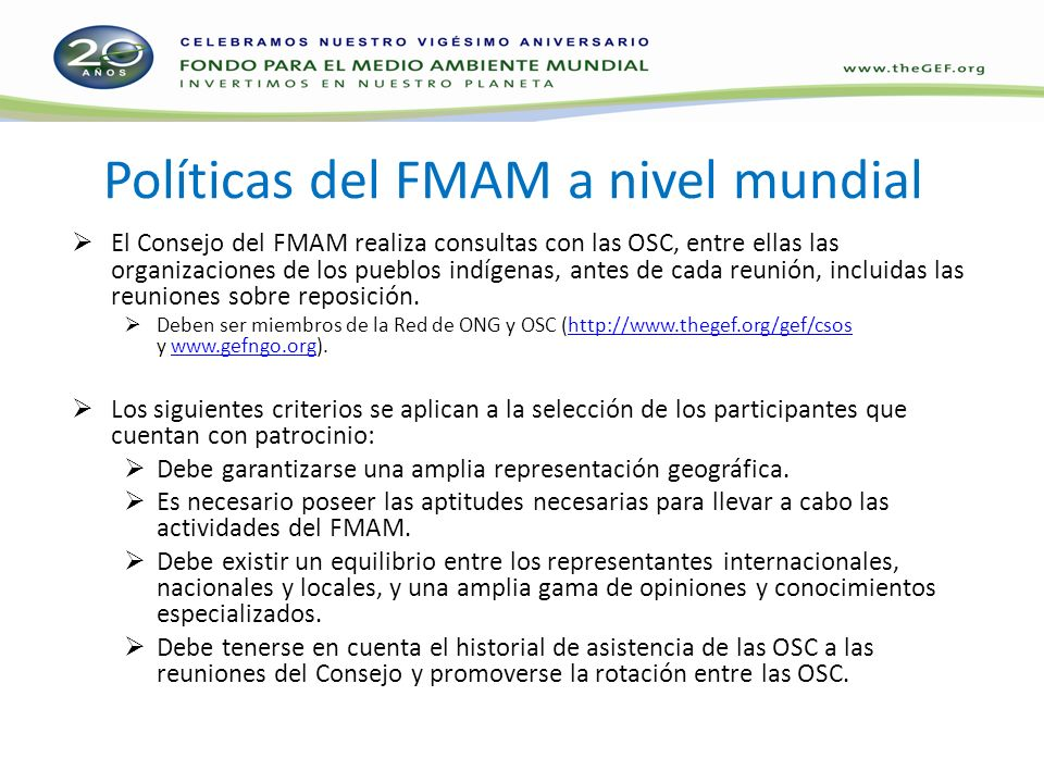 Políticas del FMAM a nivel mundial
