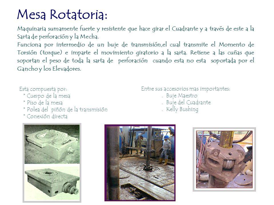 Mesa Rotatoria: Maquinaria sumamente fuerte y resistente que hace girar el Cuadrante y a través de este a la Sarta de perforación y la Mecha.