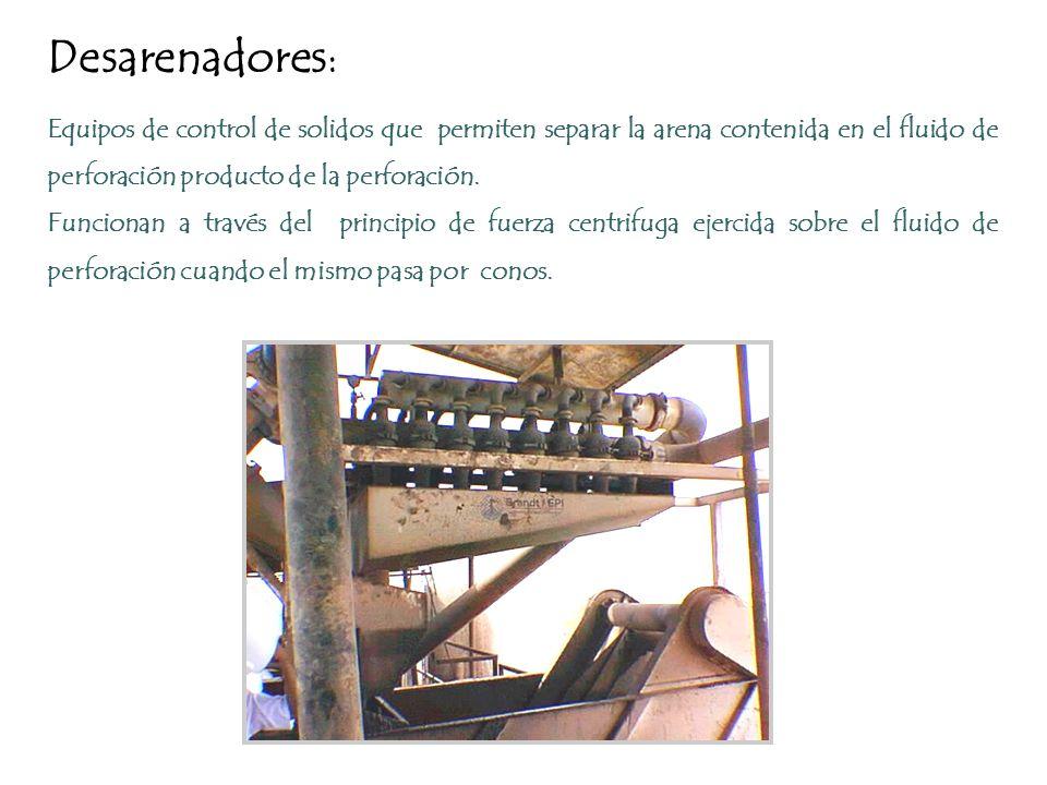 Desarenadores: Equipos de control de solidos que permiten separar la arena contenida en el fluido de perforación producto de la perforación.
