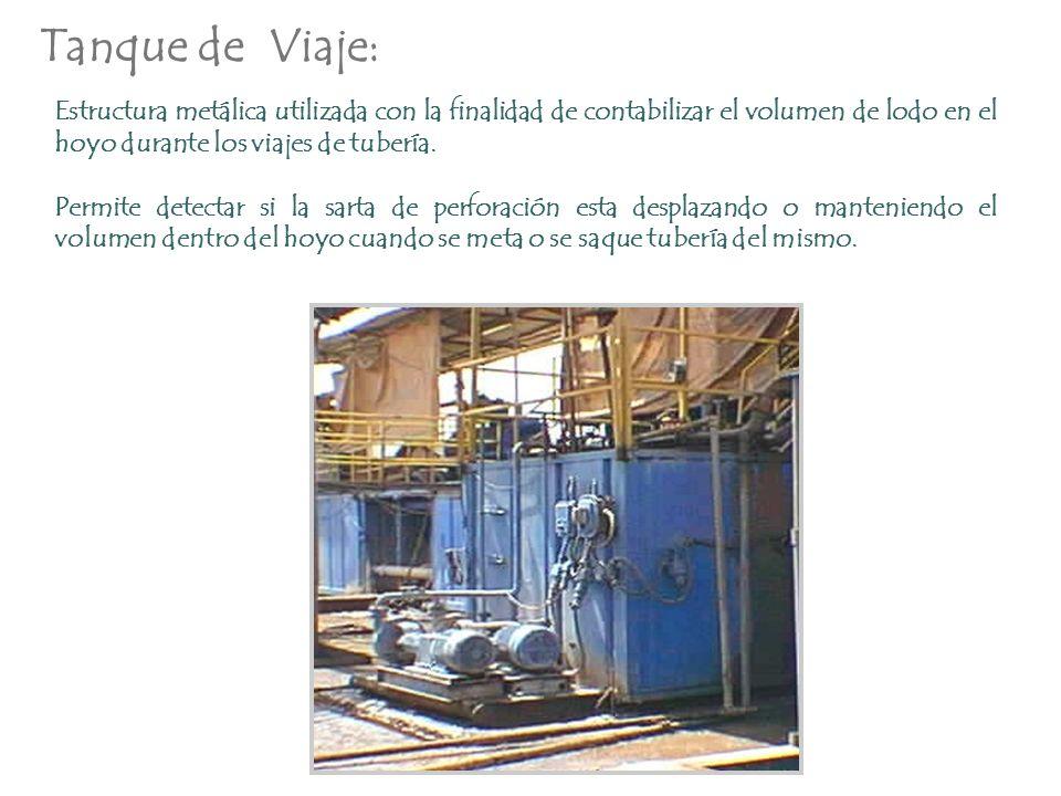 Tanque de Viaje: Estructura metálica utilizada con la finalidad de contabilizar el volumen de lodo en el hoyo durante los viajes de tubería.