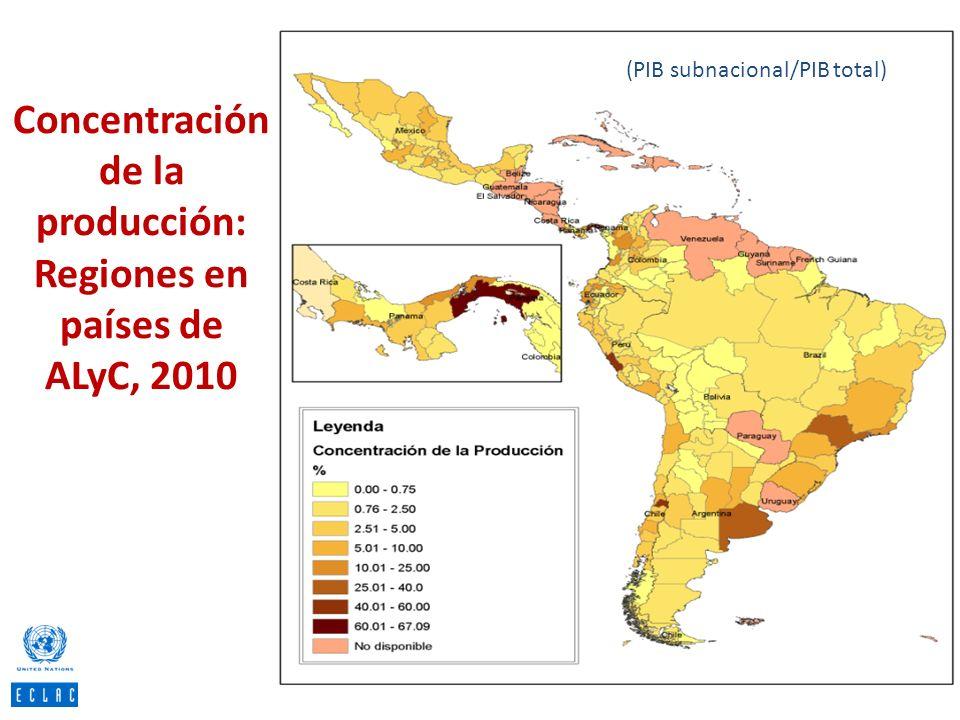 Concentración de la producción: Regiones en países de ALyC, 2010