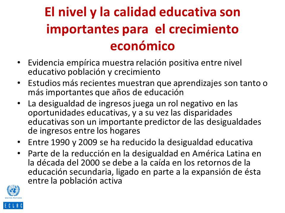 El nivel y la calidad educativa son importantes para el crecimiento económico