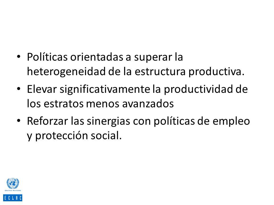 Políticas orientadas a superar la heterogeneidad de la estructura productiva.