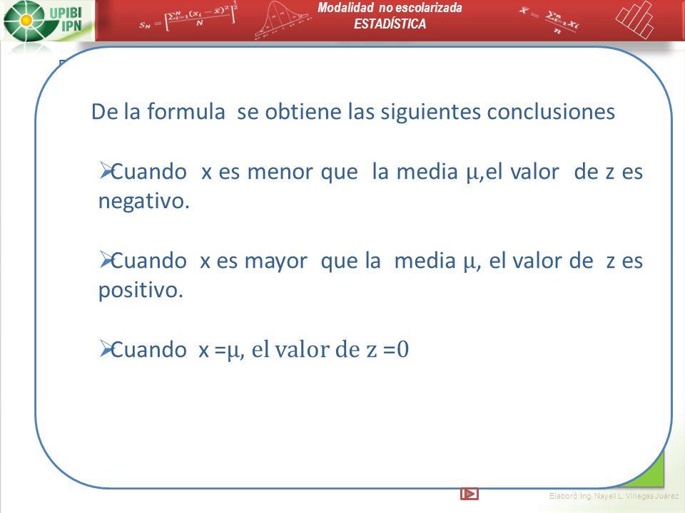 De la formula se obtiene las siguientes conclusiones
