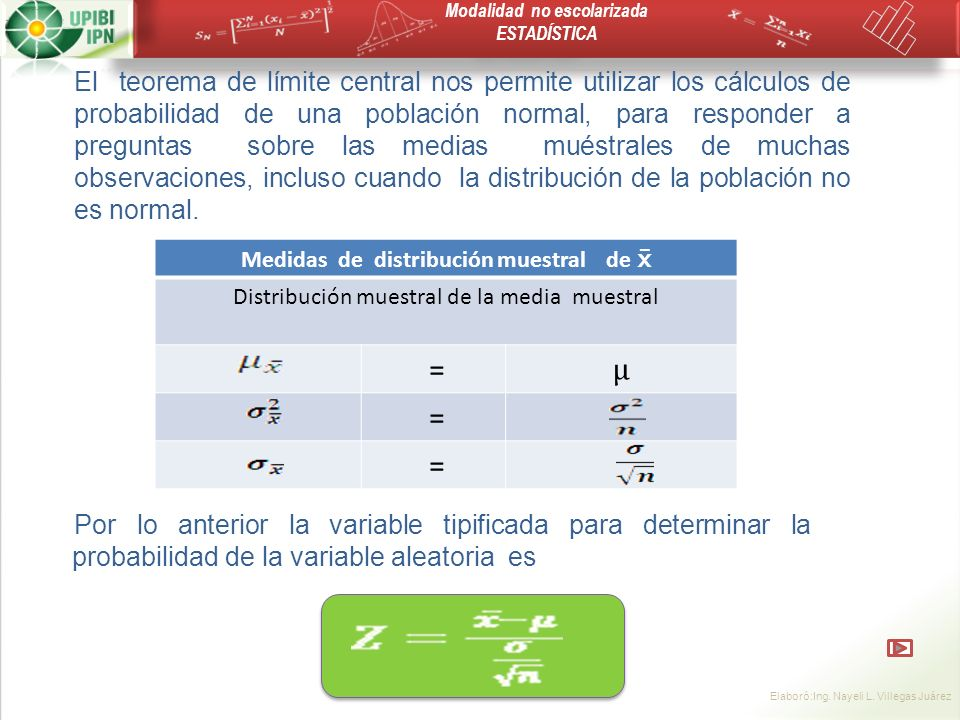 Medidas de distribución muestral de 
