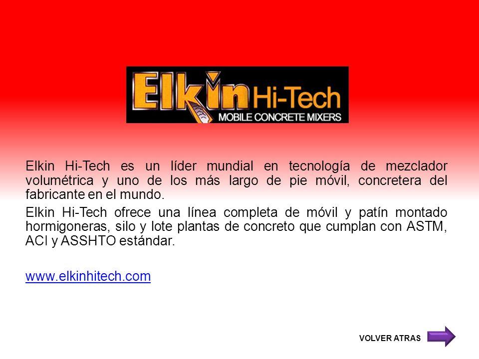 Elkin Hi-Tech es un líder mundial en tecnología de mezclador volumétrica y uno de los más largo de pie móvil, concretera del fabricante en el mundo. Elkin Hi-Tech ofrece una línea completa de móvil y patín montado hormigoneras, silo y lote plantas de concreto que cumplan con ASTM, ACI y ASSHTO estándar. www.elkinhitech.com