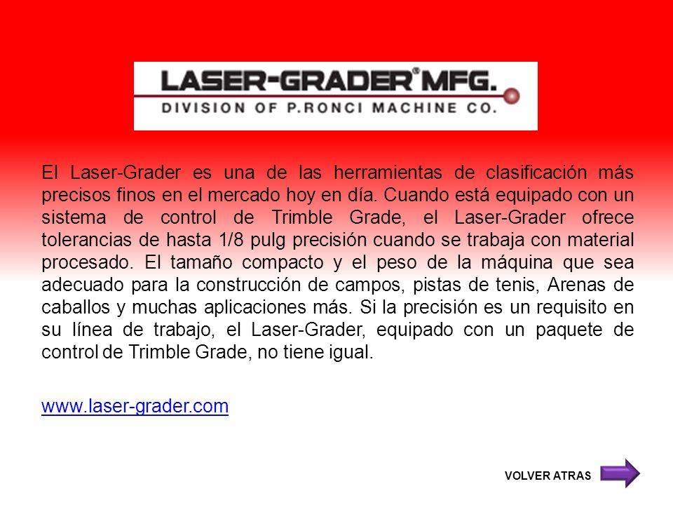 El Laser-Grader es una de las herramientas de clasificación más precisos finos en el mercado hoy en día. Cuando está equipado con un sistema de control de Trimble Grade, el Laser-Grader ofrece tolerancias de hasta 1/8 pulg precisión cuando se trabaja con material procesado. El tamaño compacto y el peso de la máquina que sea adecuado para la construcción de campos, pistas de tenis, Arenas de caballos y muchas aplicaciones más. Si la precisión es un requisito en su línea de trabajo, el Laser-Grader, equipado con un paquete de control de Trimble Grade, no tiene igual. www.laser-grader.com