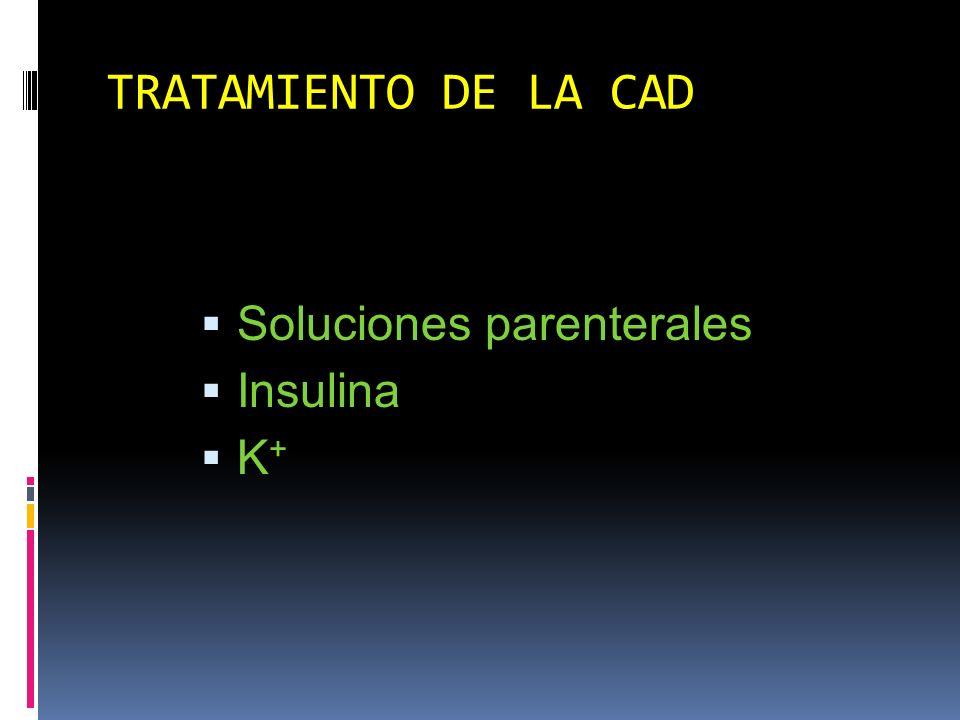 TRATAMIENTO DE LA CAD Soluciones parenterales Insulina K+