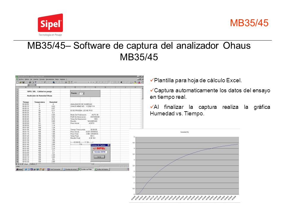 MB35/45– Software de captura del analizador Ohaus MB35/45