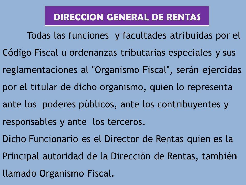 DIRECCION GENERAL DE RENTAS