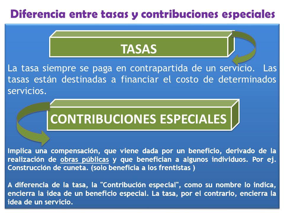 Diferencia entre tasas y contribuciones especiales