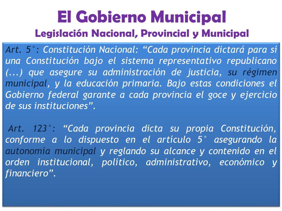 El Gobierno Municipal Legislación Nacional, Provincial y Municipal