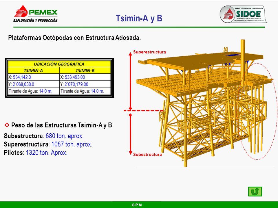 Tsimin-A y B Plataformas Octópodas con Estructura Adosada.