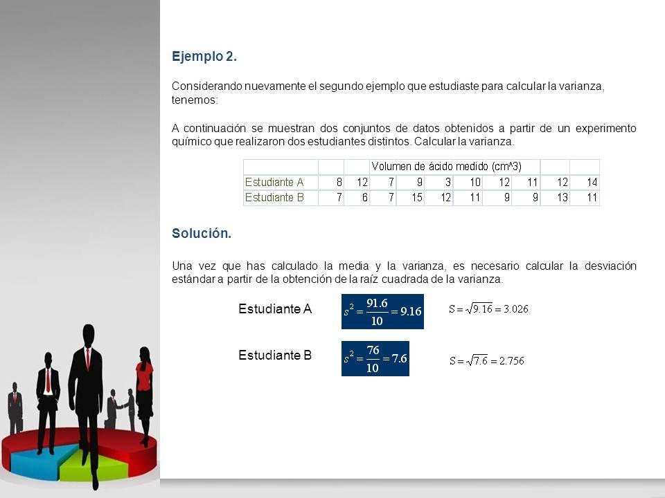 Ejemplo 2. Solución. Estudiante A Estudiante B